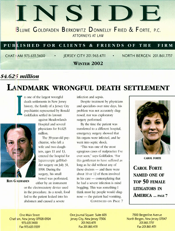 Landmark Wrongful Death Settlement